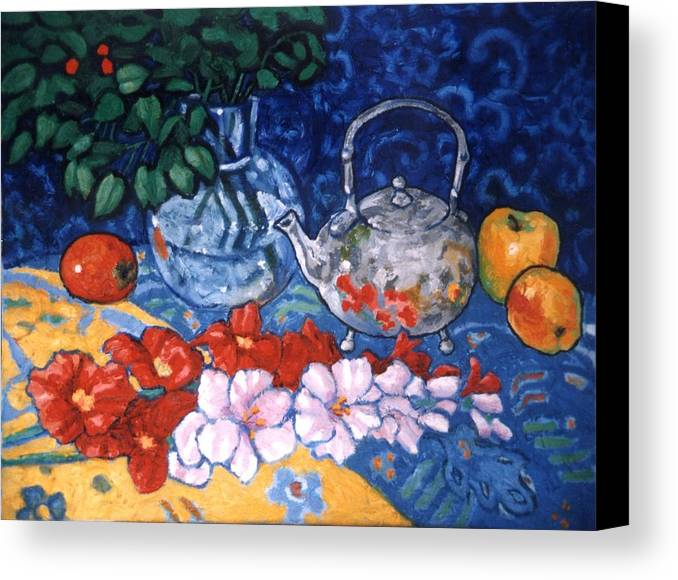 Still Life Canvas Print featuring the painting Silver Tea Pot by Paul Herman