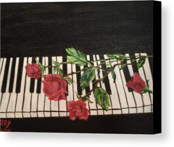 Piano Canvas Print featuring the painting Sisters by Terry Lash