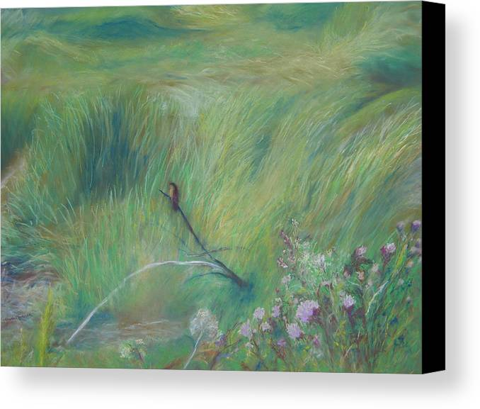 Wetlands Canvas Print featuring the pastel Sitting Pretty by Jackie Bush-Turner