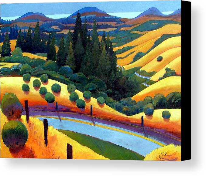 California Canvas Print featuring the painting Skylline To The Sea Revisited by Gary Coleman