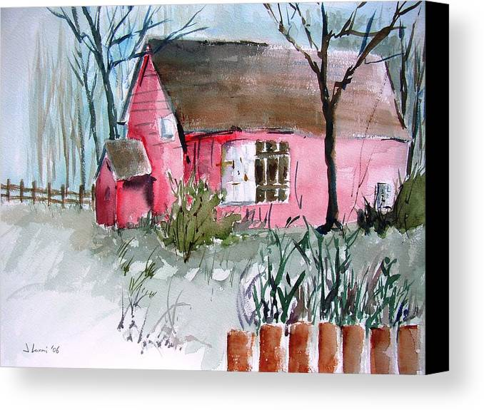 Barn Canvas Print featuring the painting Sleeping Upstate by Joe Lanni