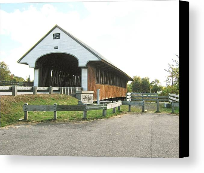 Nh Canvas Print featuring the photograph Smith Millennium Covered Bridge by Wayne Toutaint