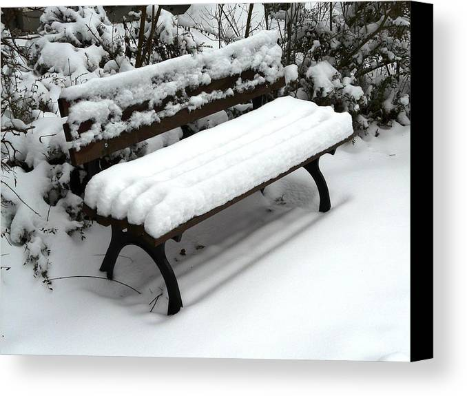 Snow Canvas Print featuring the photograph Snow Bench by Valerie Ornstein