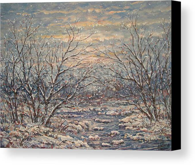 Landscape Canvas Print featuring the painting Snow By Brook. by Leonard Holland