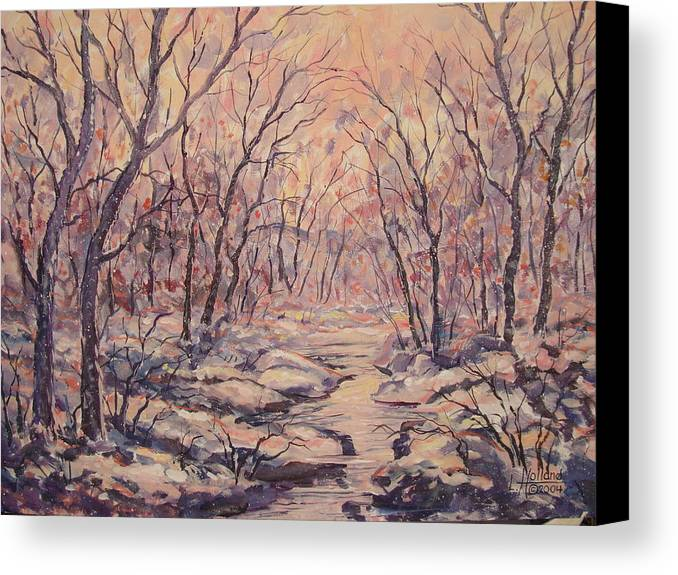 Landscape Canvas Print featuring the painting Snow In The Woods. by Leonard Holland