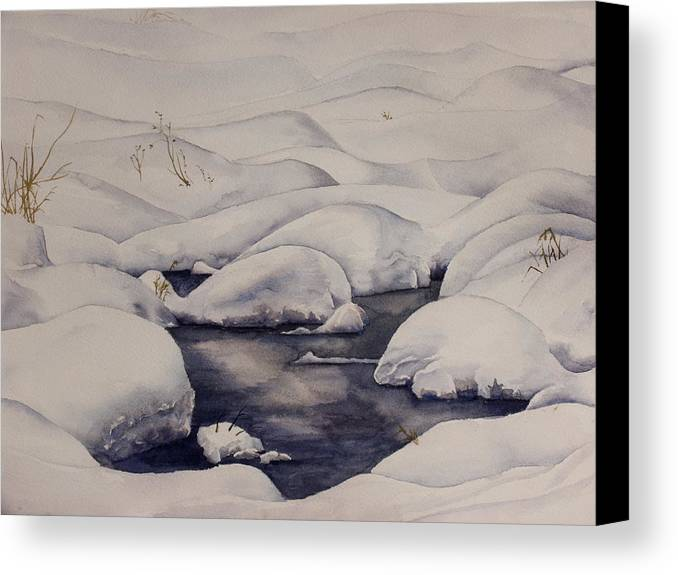 Snow Canvas Print featuring the painting Snow Pool by Debbie Homewood