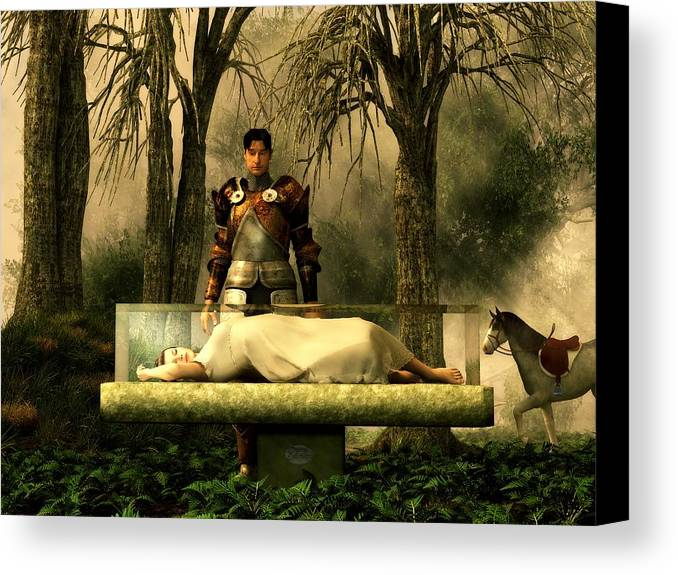 Fairy Tale Canvas Print Featuring The Digital Art Snow Whites Glass Coffin By Daniel Eskridge