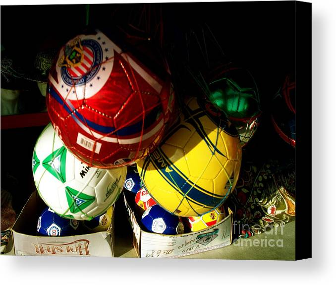Soccer Canvas Print featuring the photograph Soccer For Sale by Chuck Taylor