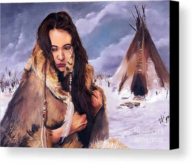 Southwest Art Canvas Print featuring the painting Solitude by J W Baker