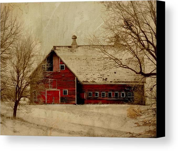 Red Canvas Print featuring the digital art South Dakota Barn by Julie Hamilton