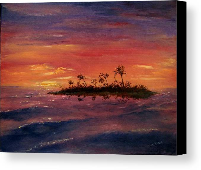 Sunset Canvas Print featuring the painting South Pacific Atoll by Jack Skinner