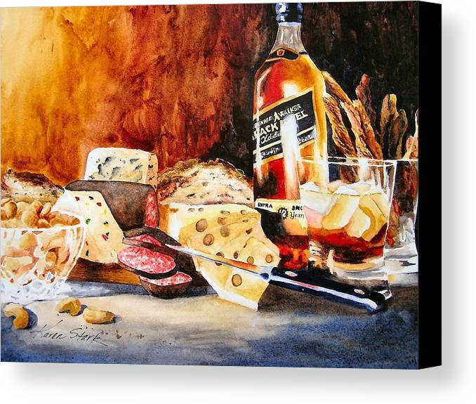 Scotch Canvas Print featuring the painting Spirited Indulgences by Karen Stark