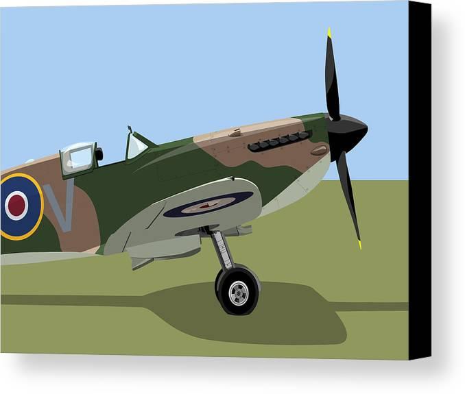 Spitfire Canvas Print featuring the digital art Spitfire Ww2 Fighter by Michael Tompsett