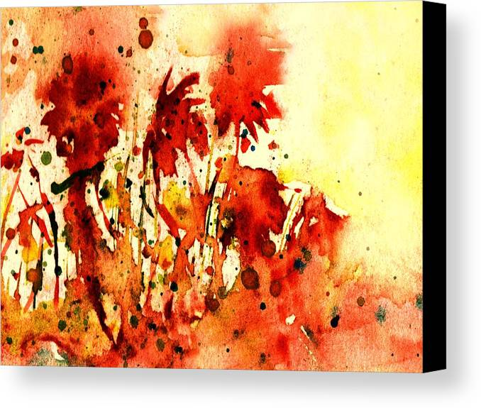 Floral Abstract Canvas Print featuring the painting Splash Of Red by Robin Monroe