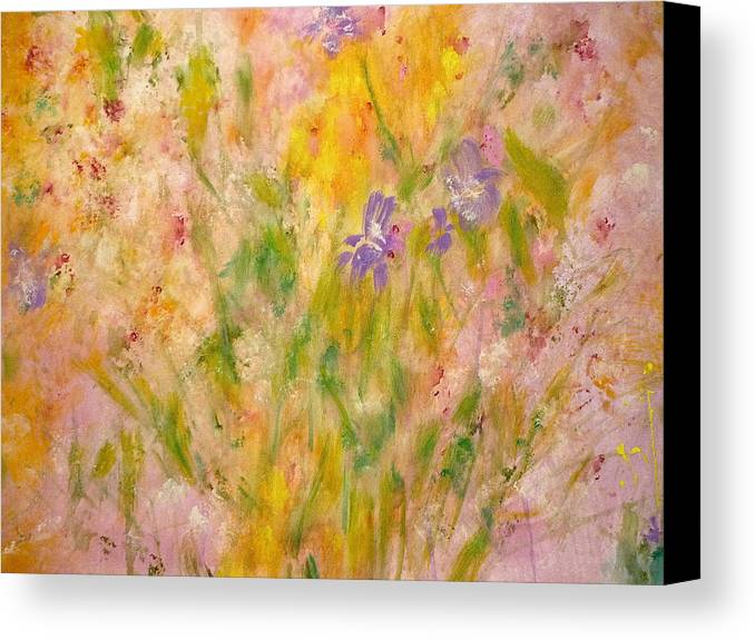 Spring Meadow Canvas Print featuring the painting Spring Meadow by Claire Bull