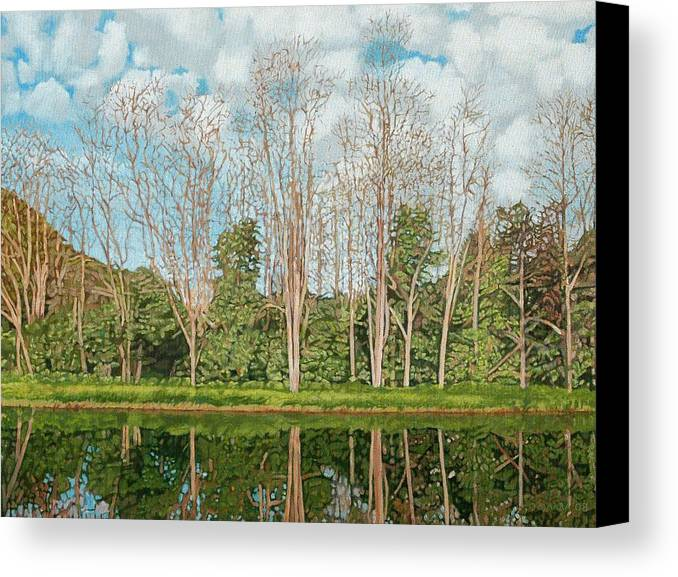 Landscape Canvas Print featuring the painting Spring Pond Reflection by Allan OMarra