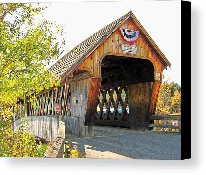 Nh Canvas Print featuring the photograph Squam River Covered Bridge by Wayne Toutaint