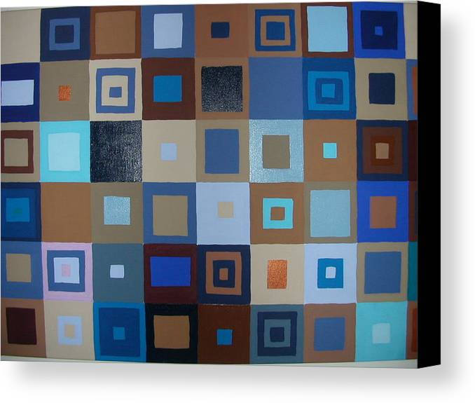 Shades Of Brown And Blue Squares Painting Canvas Print featuring the painting Squares Have It by Gay Dallek