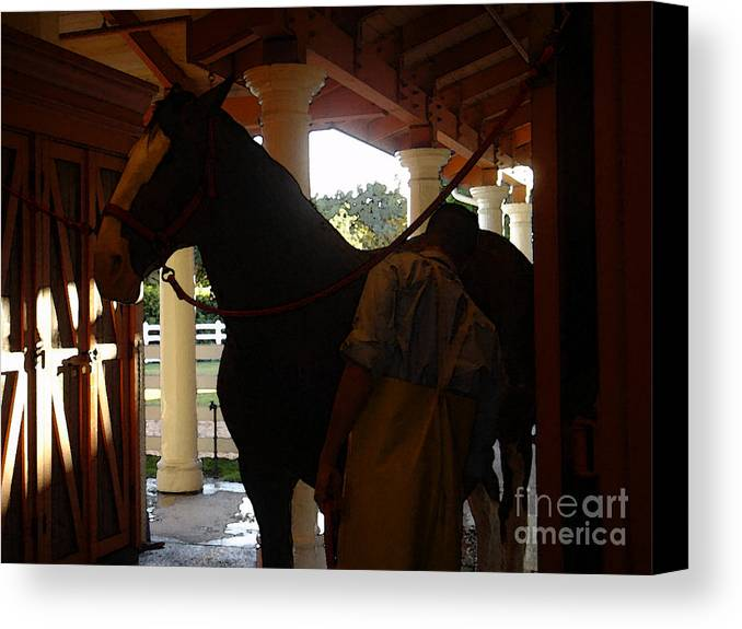 Horses Canvas Print featuring the photograph Stable Groom - 2 by Linda Shafer