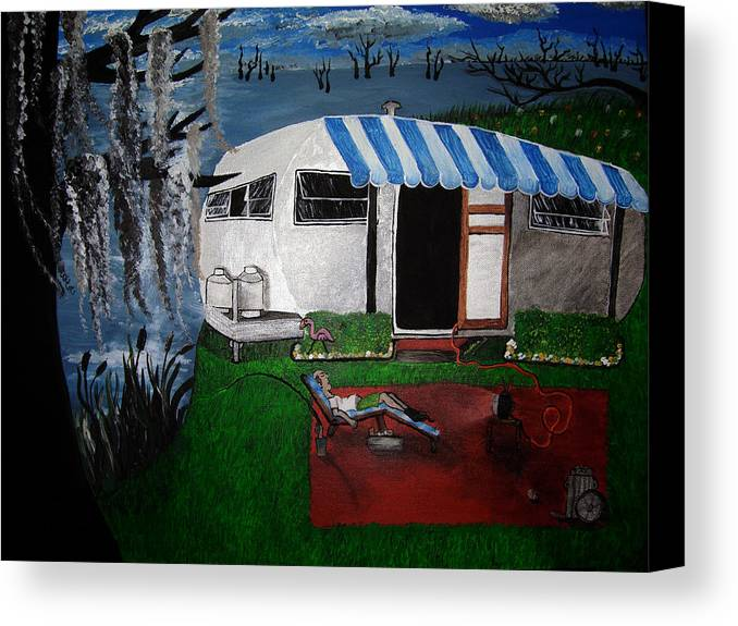 Trailer Canvas Print featuring the painting Stereotype by Sharon Supplee