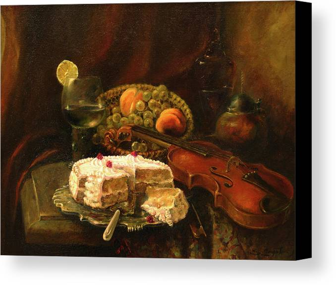 Armenian Canvas Print featuring the painting Still-life With The Violin by Tigran Ghulyan
