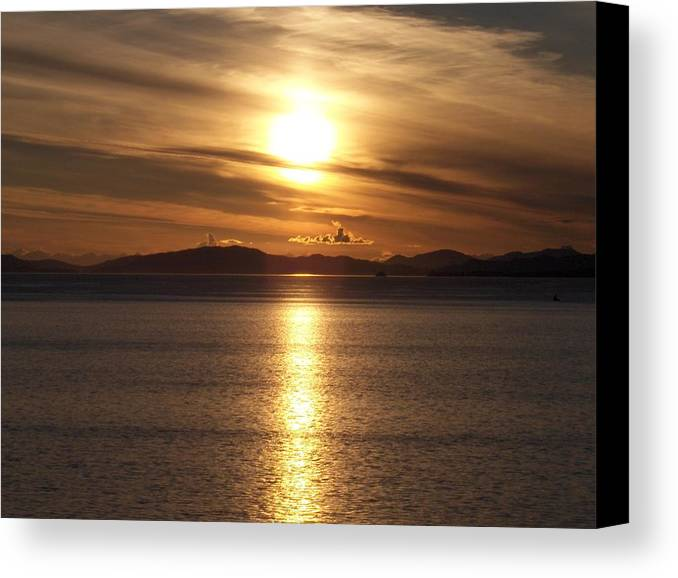 Seascape Canvas Print featuring the photograph Still Night In Alaska by Janet Hall