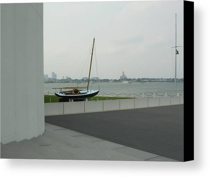 Sailboat Canvas Print featuring the photograph Stilled Voyage by Nancy Ferrier