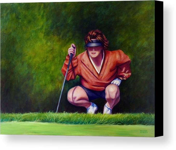 Golfer Canvas Print featuring the painting Straightshot by Shannon Grissom