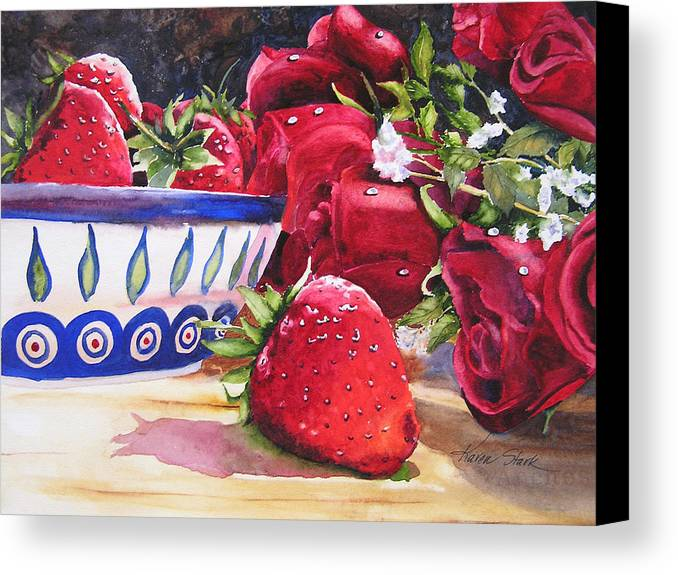 Strawberries Canvas Print featuring the painting Strawberries And Roses by Karen Stark