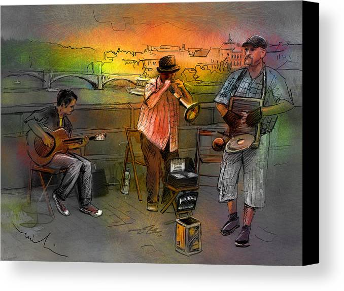 Music Canvas Print featuring the painting Street Musicians In Prague In The Czech Republic 03 by Miki De Goodaboom