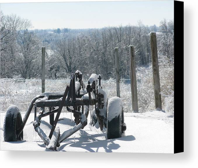 Landscape Canvas Print featuring the photograph Stuck In The Snow by Martie DAndrea