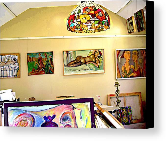 Nude Canvas Print featuring the digital art Studio9 by Noredin Morgan
