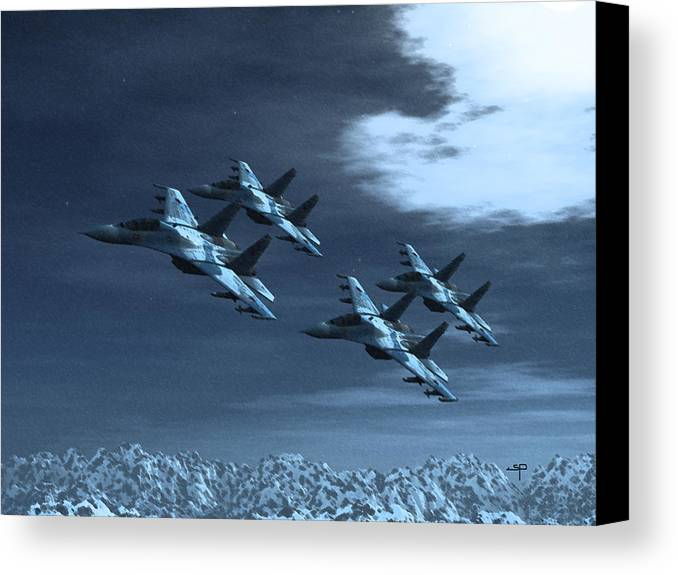 Su-35 Russian Jets Canvas Print featuring the digital art Su-35 Russia by Steven Palmer