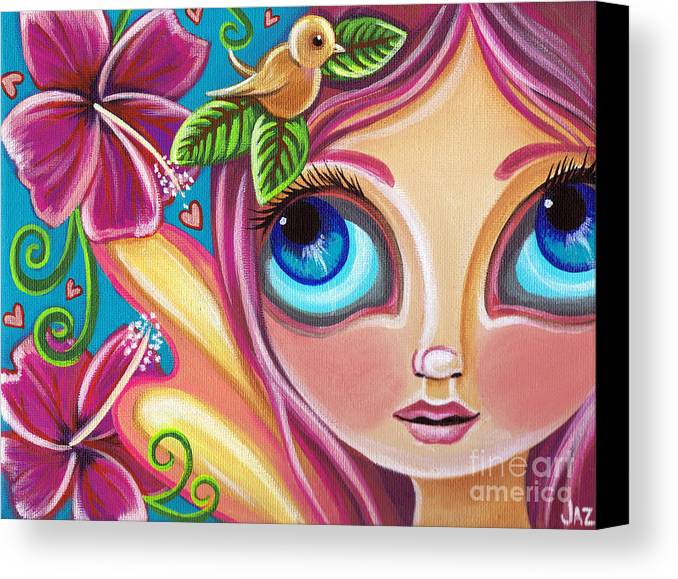 Pink Canvas Print featuring the painting Summer Bliss Fairy by Jaz Higgins