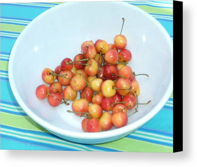 Cherries Canvas Print featuring the photograph Summer Cherries by Nancy Ferrier