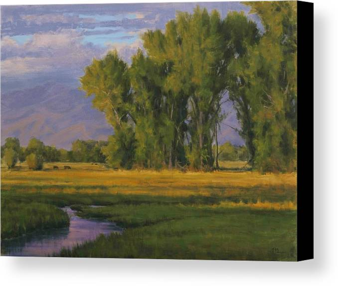 Rural Landscape Canvas Print featuring the painting Summer Evening In Bishop by Joe Mancuso
