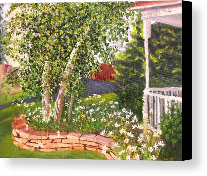 Daisies Canvas Print featuring the painting Summer Garden by Lea Novak