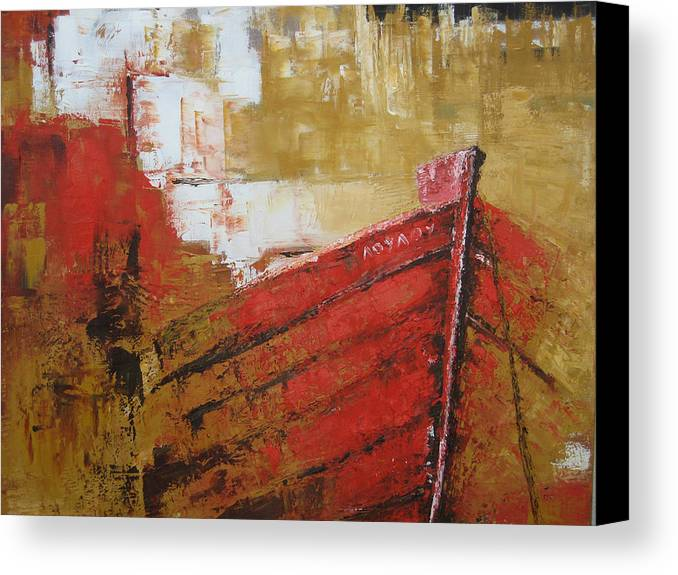 Boats Canvas Print featuring the painting 'summer Memories' by Marina Harris