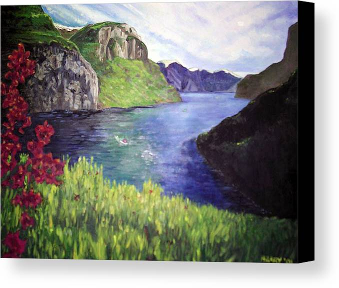 Summer Landscape Flowers Impressionist River Mountains Canvas Print featuring the painting Summer's Zenith by Hilary England