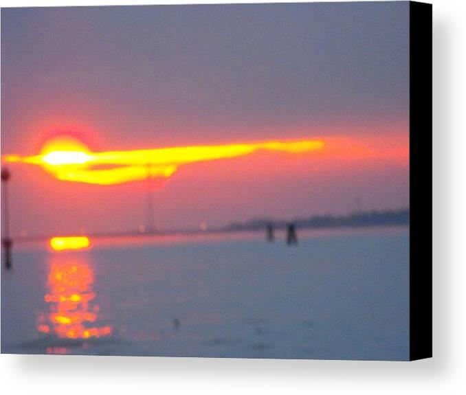 Landscaper Seascapes Sunset Canvas Print featuring the photograph Sun Sets Over Venice IIi by Viviana Puello Villa