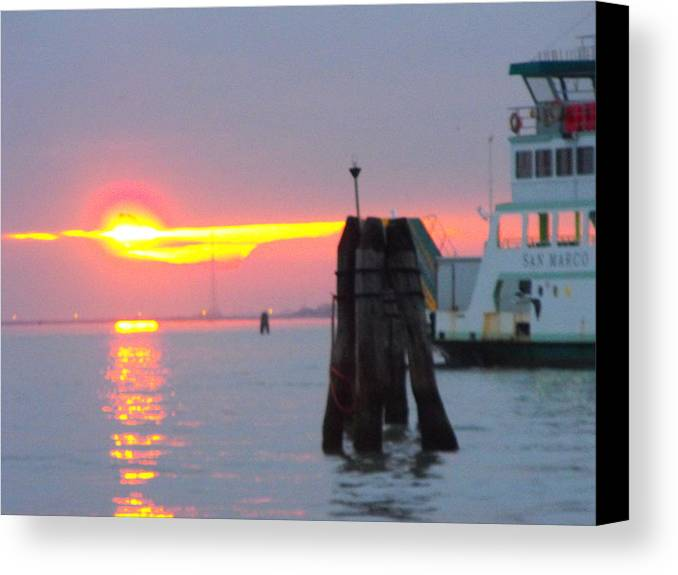 Canvas Print featuring the photograph Sun Sets Over Venice by Viviana Puello Villa