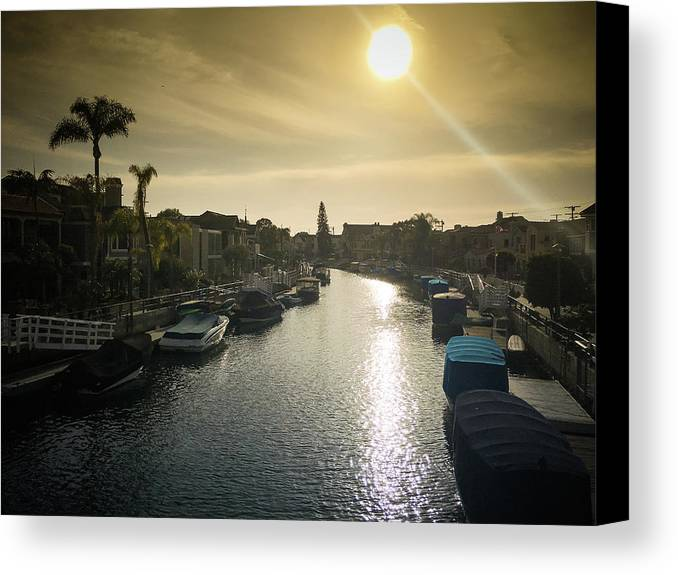 Waterfront Property Canvas Print featuring the photograph Sun Setting Over Canals Of Naples In Long Beach, Ca by Bradley Hebdon