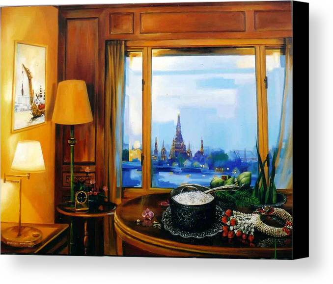 Thai Canvas Print featuring the painting Sunday Morning by Chonkhet Phanwichien