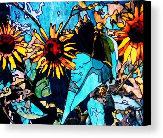 Sunflowers Canvas Print featuring the painting Sunflowers Blue by Tom Herrin