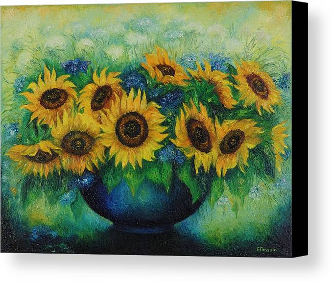 Flowers Canvas Print featuring the painting Sunflowers No 1. by Evgenia Davidov