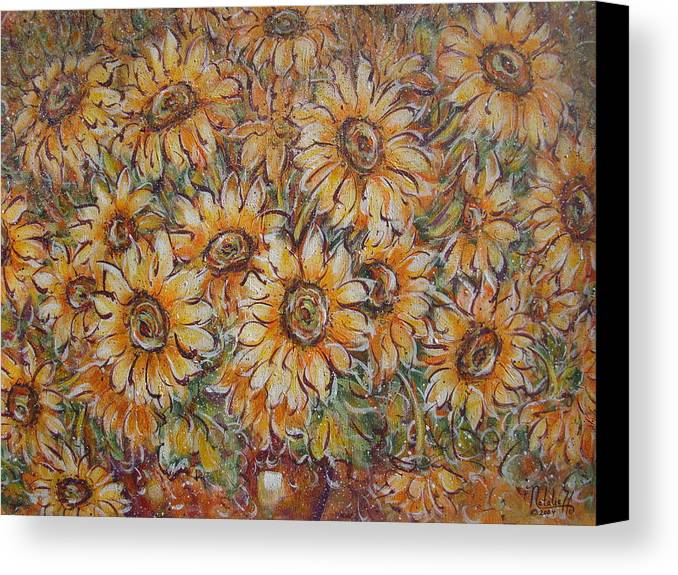 Flowers Canvas Print featuring the painting Sunlight Bouquet. by Natalie Holland