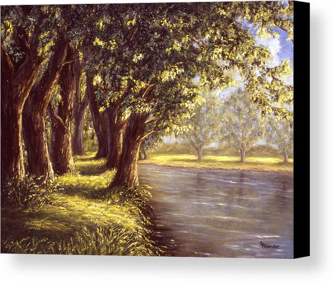 River Trees Serene Pathway Canvas Print featuring the painting Sunlit Riverbank by Grace Nikander