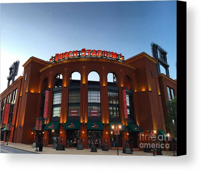 St Louis Missouri Canvas Print featuring the photograph Sunrise At Busch Stadium by Debbie Fenelon