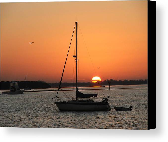 Landscape Canvas Print featuring the photograph Sunrise On The Bay by Judy Waller