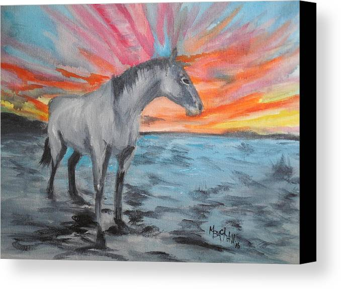 Winter Sunrise Pony. Grey Horse At Sunrise Canvas Print featuring the painting Sunrise Pony by Melissa Hill